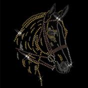 Rhinestone Motif Pferdekopf Bügelbild Transfermotiv Strassbild Horse Strasssteine