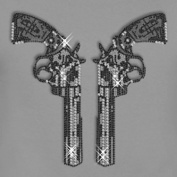 Rhinestone Revolver Pair XXL Iron on Hotfix