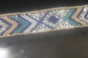 Ribbon Pearl Rhinestones Hotfix Bling Custom Design 14 cm x 3 cm