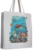 Turtle and Tropical Fish Sealife Reusable Cotton Shopping Bag Tote Gusset for Extra Space and Long Handles - Perfect Gift