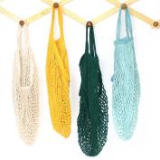 4 Pack Portable Reusable Mesh Cotton Net String Bag Organiser Shopping Tote Handbag