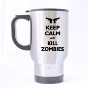 Best Funny Keep Calm and Kill Zombies Theme - 100% Stainless Steel Material Travel Mug Cup - 410ml sizes