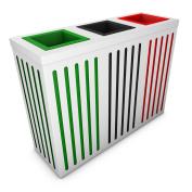 poubelledirect Triple Bin Waste Bin 90 Litres, White Body, 3 Buckets Home