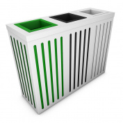 poubelledirect Triple Bin Waste Bin 30 Litres, White Body, 3 Recycling Bins