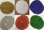 GLITTER 6 x 40G - GOLD-SILVER-RED-BLUE-GREEN-WHITE - DYE CUT - NO DUST - EN71 CERTIFIED SAFE FOR CHILDREN