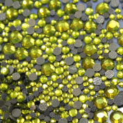 Mix 500 Olive Green Glass Rhinestone Hotfix Assortment S06/S10/S20/S16 135