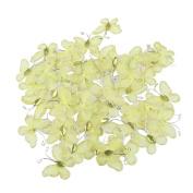 LUOEM 50Pcs Glitter Butterflies Artificial Butterflies Ornaments for Weddings Sheer Mesh Wire Yellow