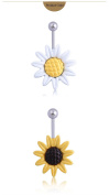 Zhichengbosi 2 Pcak 14 Gauge White and Yellow Petals Stunning Sunflower Belly Button Ring
