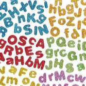 KRAFTZ® Glitter Foam Eva Letters A-Z Stickers, Self Adhesive in Assorted Sizes And Colours For Kids Art & Craft, Decorating Cards and Models