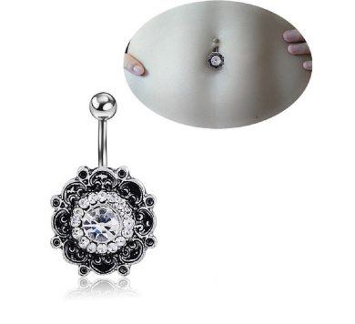 Zhichengbosi 1 pc Sexy Retro Flower Crystal Navel Belly Button Ring Bar