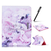 Galaxy Tab E 9.6 Case,Ukayfe Galaxy Tab E 24cm SM-T560 Elegant Purple Flower Design PU Leather Diamond Flower Stand Flip Case Protective Carrying Case Cover for Samsung Galaxy Tab E 9.6 (July 2015) with 1x Black Stylus Pen
