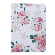 Galaxy Tab E 9.6 Case,Ukayfe Case for Samsung Galaxy Tab E 24cm SM-T530 Elegant White Pink Rose Flower Pattern Design Pu Leather Folio Flip Case Cover with 1 x Black Stylus