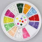 200pc Rhinestone 3D Nail Art - Brightly Coloured Squares