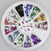 300pc Rhinestone 3D Nail Art - Multi Colour Bow Ties