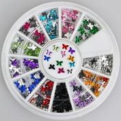 300pc Rhinestone 3D Nail Art - Multi Colour Butterfly