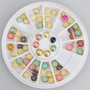 60pc Rhinestone 3D Nail Art - Round Coloured Pearls