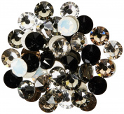 144 2058 Xilion / 2088 Xirius Rose crystal flat backs No-Hotfix nail art rhinestones BLACK & WHITE Colours Mix ss20