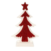 Landon Tyler Small Ceramic Tree with Glitter - Red