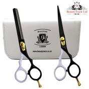 BeautyTrack Hair Cutting, Thinning Scissors Shears Set - Hairdressing Salon Professional/Barber - White Pouch