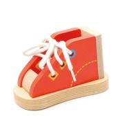 Jiele Wooden Tie Shoe Laces Toy Kids Creative Threading Shoelaces Wood Sneaker Educational Kids Learn Toys