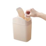 Small Bathroom Bin with Swinging Lid,BAFFECT® Desktop Paper Bin Mini Desktop Trash Bin Waste Paper Bin White Desktop Garbage Can with lid for Dressers Countertops Bedroom Bathroom Office