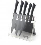 Ross Henery Professional 5 Piece Kitchen Knife set with Black Blades in Clear Foldable Acrylic Block / Stand