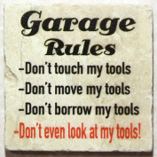Natural Marble Coaster - Garage Rules