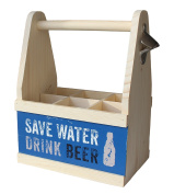 Contento 866653 Beer Flat Carrier with Bottle Opener, Natural Wood, 26 x 17 x 34 cm