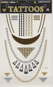 Temporary Gold/Silver Sticker Tattoos, Tribal Necklace Design