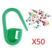 Omkuwl Knitting Crochet Locking Stitch Needle Clip Markers Holder 50Pcs