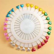 Omkuwl Lovely Colourful Love Heart Bead Pearl Head Dressmaking Straight Pins Clothes