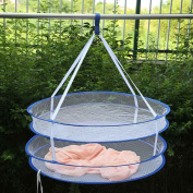 QHGstore S Hook Drying Rack Folding Hanging Clothes Laundry Basket Dryer Net 2 layers colours random