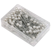 100 x White Round Pearl Headed Pins for Wedding Flowers Buttonholes Corsages Bridal Floral Craft