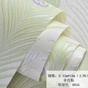 BABYQUEEN Modern And Minimalist Embossed Peacock Feathers Environmental Non-Woven Cloth Wallpaper Living Room Tv Image Bedroom Wall Papers Green 0.53*10m