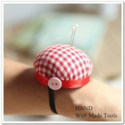 Anty-ni Cheque Wrist Pin Cushion, Red, 60mm