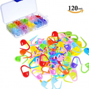Yakamoz 120pcs Knitting Crochet Locking Stitch Counter Stitch Markers Stitch Needle Clip, 10 Colours