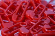 10 Safety Pins, 20 mm, Plastic, blue, green, yellow, red, black or white 20mm red