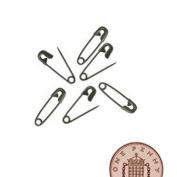 50 Small Tiny Metal Steel Mini Safety Pins 2cm 20mm Black