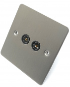CED Flat Plate Slimline 2 Gang TV Aerial Socket Satin Chrome Black Interior