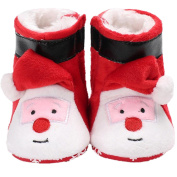 Newborn Baby Autumn Winter Christmas Santa Claus Snow Boots Kids Warm Xmas Shoes