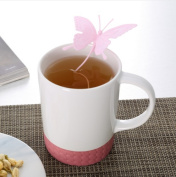 Butterfly Tea Bags Strainers Silicone Teaspoon Filter Infuser Silica Cute Teabags For Tea & Coffee Drinkware Pink