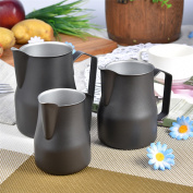 Stainless Steel Milk Frothing Pitcher Jug Espresso For Coffee Cappuccino Latte Drinks Barista 500ml Black