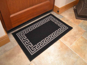 Black Greek Key Non Slip Machine Washable Rug. Available in 6 Sizes