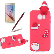 Christmas Series for Samsung Galaxy S6 Case,Girlyard Christmas Santa Claus Floral Ultra Slim Soft Silicone Gel Case 3D Creative Fashion Cool Cartoon Cute Shockproof Rubber Bumper for Samsung Galaxy S6-Christmas Black