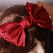 Girl's Cute Fashion Korea Style Big Bowknot Hair Band Hairpin Hair Accessory Red