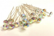 20pcs AB CLEAR-8mm Glass Crystal Rhinestone Diamante Wedding Bridal Prom Hair Pin