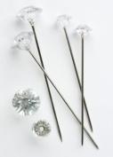 25 x 6MM DIAMANTE PINS CLEAR ACRYLIC, DIAMOND SHAPED HEAD