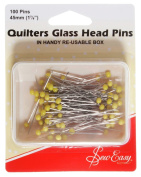 Sew Easy ER308 | Quilters Glass Head Pins | 0.75mm x 45mm | 100pcs