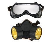 Kelaina Practical Industrial Chemical Gas Anti-Dust Spray Paint Dual Respirator Mask With Goggles