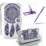 Strap Pu Leather Case for Samsung Galaxy A320 2017,Wallet Flip Cover for Samsung Galaxy A320 2017,Herzzer Classic Elegant Book Style [White Purple Wind Chime] Embossed Slim Fit Stand Leather Folio Pouch Protective Mobile Cellphone Case for Samsung Gala ..